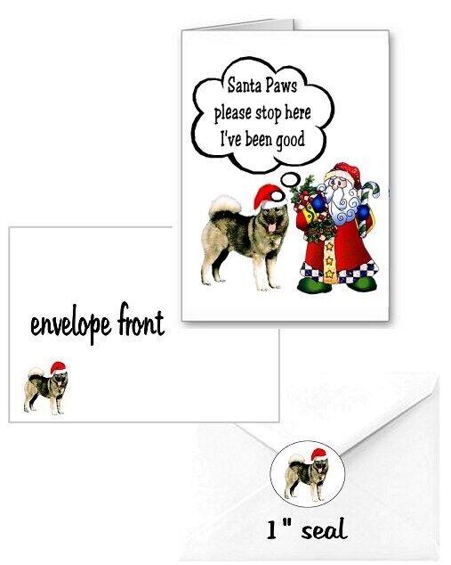 30 Norwegian Elkhound Christmas cards seals envelopes 90 pieces Santa Paws