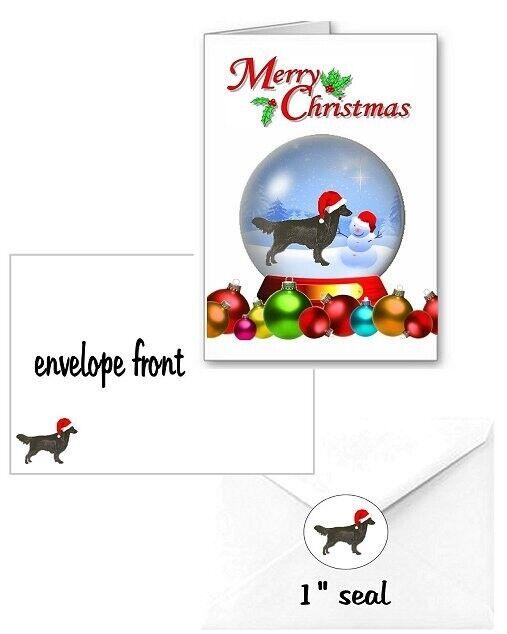 30 Flat Coated Retriever Christmas cards seals envelopes 90 pieces snow globe