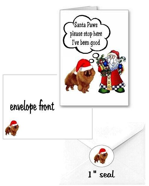 30 Chow Chow Christmas cards seals envelopes 90 pieces Santa Paws design