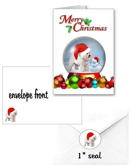 30 Bichon Frise Christmas cards seals envelopes laser 90 pieces snow globe