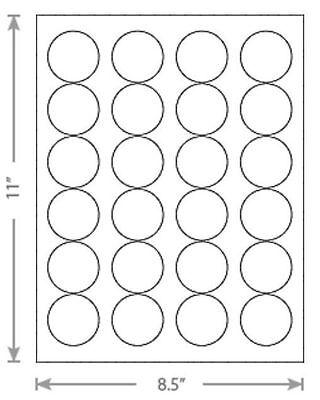 25 Sheets Laser Inkjet 1.67 Round Circle Dots Labels 24-up