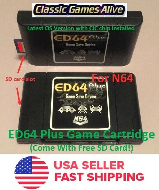 ED64 Plus Latest Game Save Device Adapter- N64 Console (+16gb SD Card!)