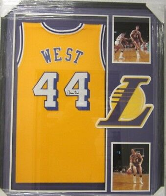 Jerry West Los Angeles Lakers Signed Framed Matted yellow Jersey JSA COA CAS 6ed06b8da