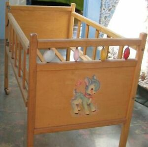 Vintage Wooden  Doll  Crib