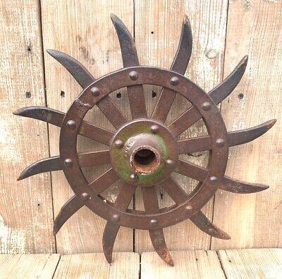 Rotary-hoe wheel Antique// Tiller Head Cultivator Wheel Farm Equipment