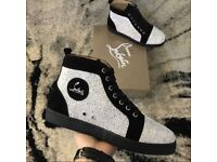 Christian Louboutin Shiny Moire High Top Suede Studded Red Bottom Sneakers