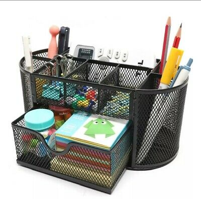 Pen And Pencil Organizer For Office School Desk Supplies Metal Mesh Black New