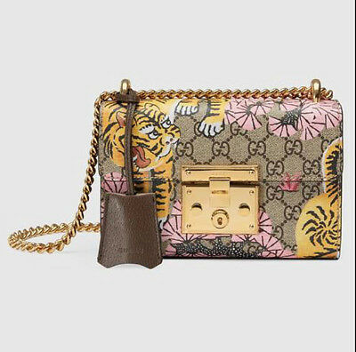 6d02d6fd75d NEW Gucci Bengal Padlock Bag GG Coated Canvas With Brown Leather --NWT