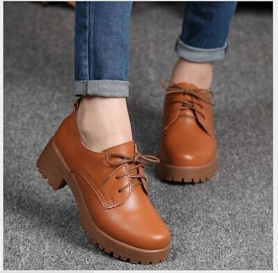Best New Spring Women's Fashion Flat Heel Leather Oxfords Shoes Casual Lace Up (Best Oxford Shoes Womens)