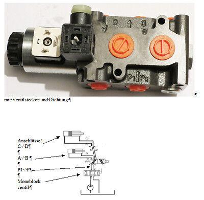 Umschaltventil Wegeventil 6/2 Wegeventi l 12Volt ,Q max 50 Lt.  / + Leckan.