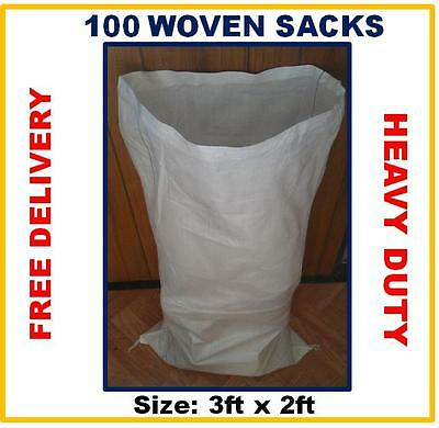 100 Strong  Woven Rubble Sacks Bags Heavy Duty Strong Sacks 2 ft x 3ft, White