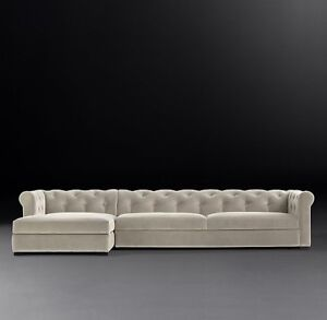 Restoration Hardware MODENA CHESTERFIELD SOFA CHAISE SECTIONAL