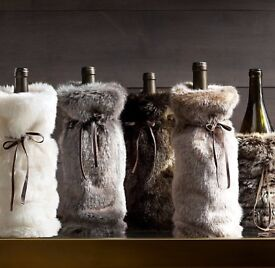 1 X FAUX FUR WINE BAG CHOCOLATE BROWN *NEW*