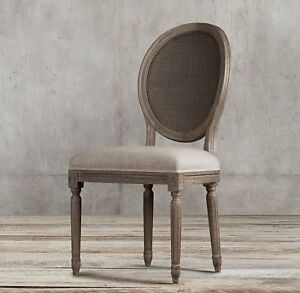 Five Restoration Hardware Vintage Round Cane Back Fabric Chairs