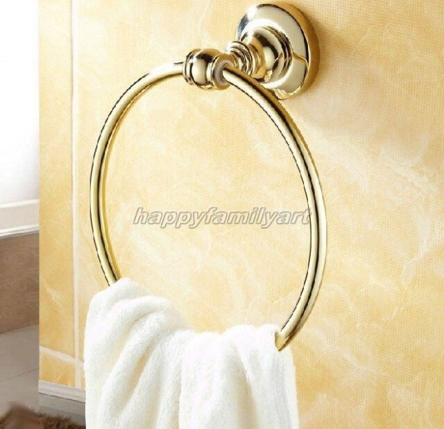 Gold Color Brass Wall Mounted Bath Towel Ring Holder Bathroom Fitting yba104