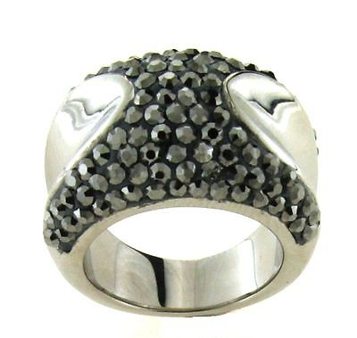 Ladies White Stainless Steel Black Crystal Pave Ring 316L Size 6  - $9.99