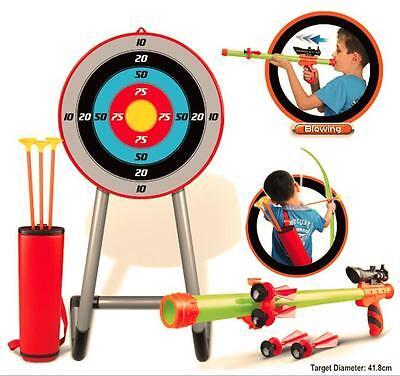 Bogenschießen Set Spiel Bogen Pfeile Ziel Aufblasbar Rohr & Darts Draußen Spaß