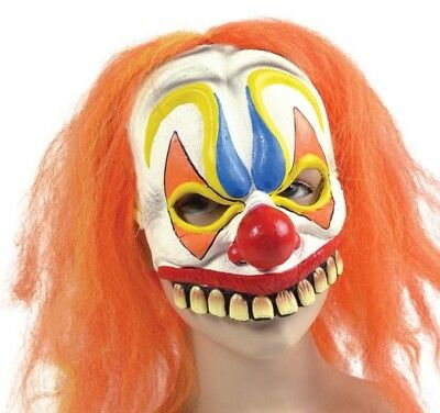 HALLOWEEN PARTY ADULT RUBBER COMICAL CLOWN MASK WITH ORANGE HAIR + LARGE TEETH - Clown Mask With Orange Hair