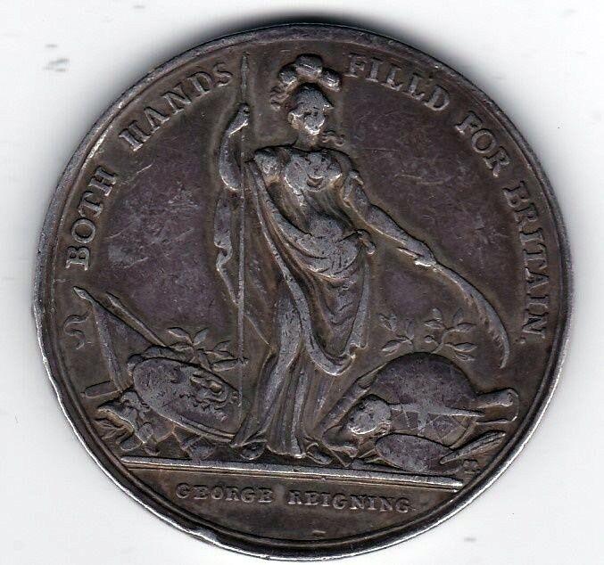 SILVER GEORGE II 1727-1760 CAROLINE PROTECTING 1736 LONDON ENGLAND