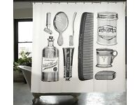 Izola Apothecary Barbershop shower curtain