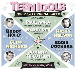 TEEN IDOLS ..  52 ROCK N' ROLL HITS .. 2 CD'S .. ORIGINAL OLDIES .. 1950'S-60'S