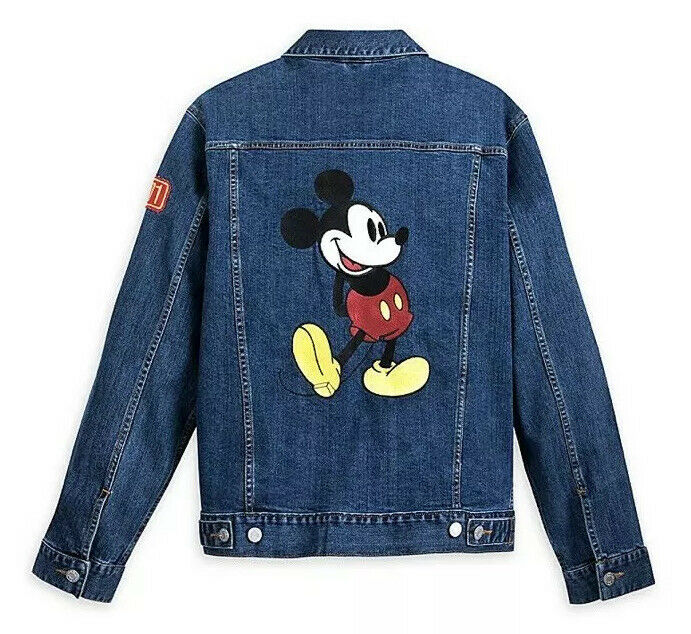 Disney Parks Mickey Embroidered Denim Jean Jacket Mens S M XL NWT