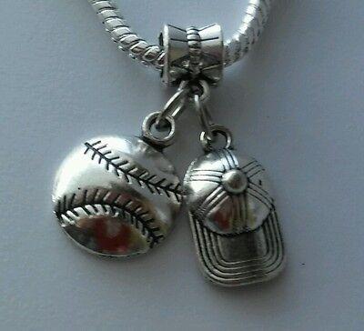 Baseball Hat Softball Sports Ball Dangle Bead For European Charm Bracelet ](Baseball Beads For Bracelets)