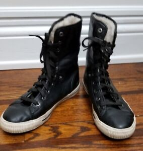 High top sneaker combat boot with fur, size 7M/8.5W
