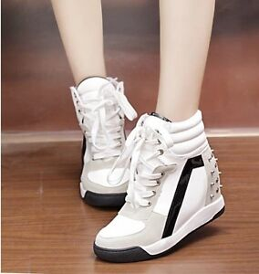 Awesome-Faux-Suede-Studded-Lace-Up-Wedge-Platform-Womens-High-Top-Sneakers-Shoes