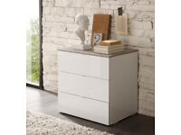2 x 3 Drawer Bedside Cabinets in High Gloss White & Oak RRP £919.99 50% OFF