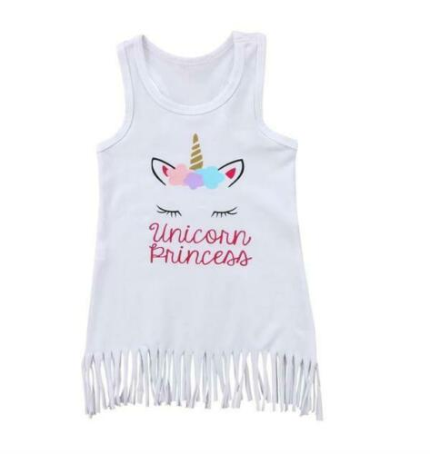 Unicorn Girls Fringe Princess Tank Top - White - Cotton