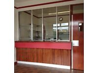 Security counter with glass