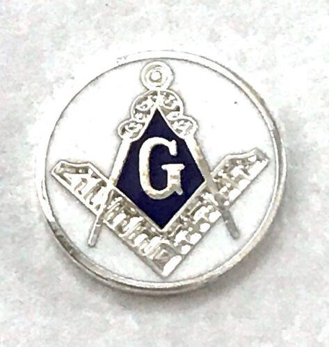 New OLD STOCK Masonic Compass Ruler G Emblem Blue & White Enamel Silver 5pc Lot