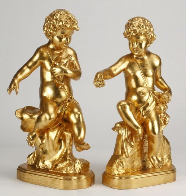 Pair carved Gilt Wood  figural with Cherubs/Putti  Mantel Clock side Garniture