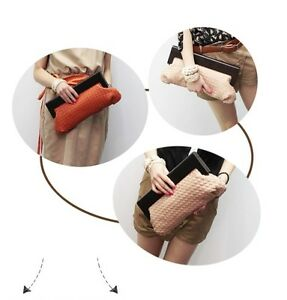 Women's New Fashion Vintage Woven Bag Clutch Evening Bag Beige/Orange