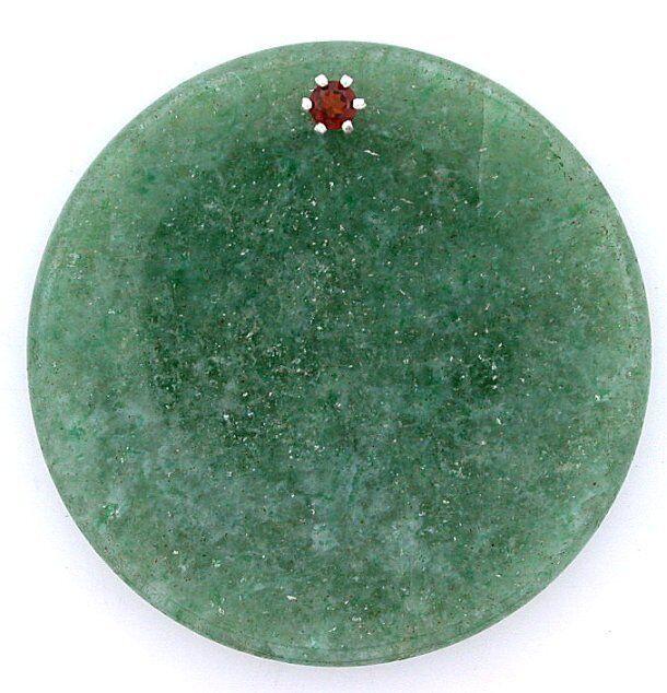40mm x 6mm Round Custom Green Aventurine Disc Sterling Gem 3mm Red Garnet 6493