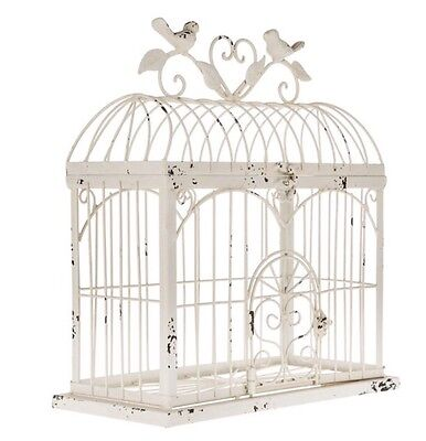 Cream Metal Rectangle Bird Cage Decorative Storage Flowers Wedding New