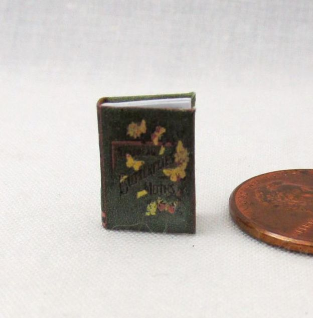 1:24 Scale Book BUTTERFLIES AND MOTHS Miniature Book Dollhouse Color Illustrated