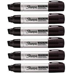 Sharpie Magnum 44 Jumbo Permanent Black Markers, 44001, Pack of 6