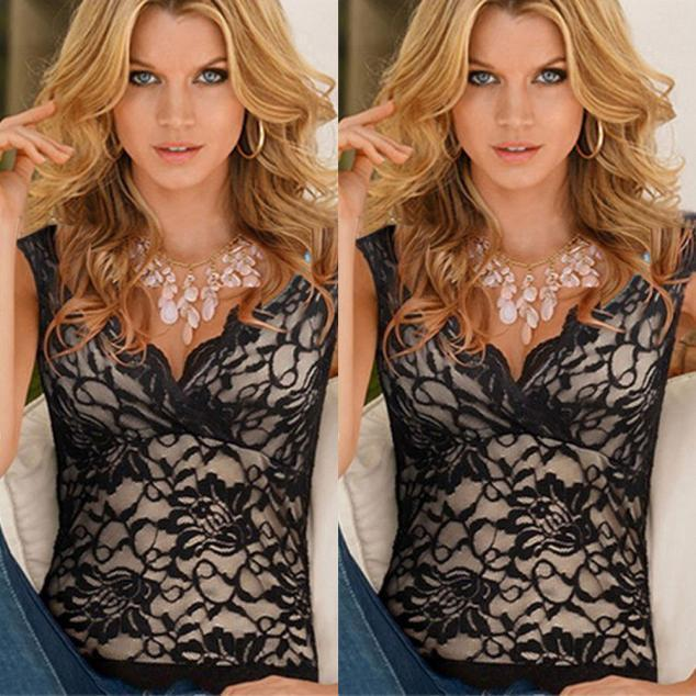 Women Sexy Summer Lace V-Neck Vest Tops Sleeveless Blouse Casual Tank Top Shirt