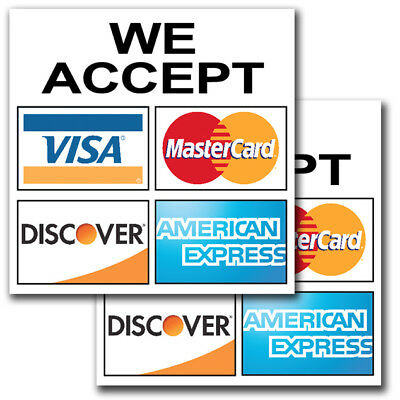 2 Pack Of 6 Inch We Accept Credit Card Sign Sticker Business Store Window Decal