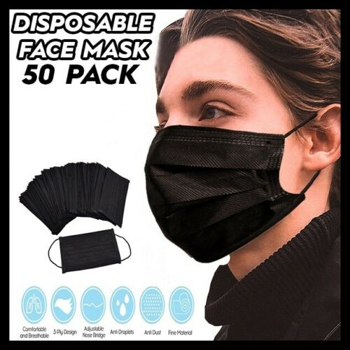 Best NEW [50PCS]BLACK FACE MASK DISPOSABLE NON MEDICAL SURGICAL 3-PLY EARLOOP MOUTH COVER