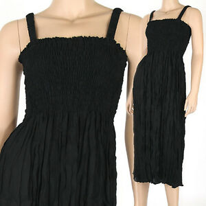 Bohemian-Style-Sun-Long-Dress-Beach-Summer-Boho-Black-XS-S-M-tm032d