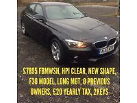 2012 BMW 3 SERIES 320D EFFICIENT DYNAMICS F30 FBMWSH £20 TAX NEW SHAPE 0 OWNERS HPI CLEAR *BARGAIN*