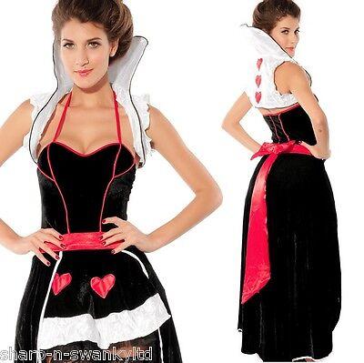 Damen Deluxe Königin der Herzen Alice Im Wunderland Kostüm Kleid Outfit ()