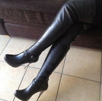 River Island Soft Leather Thigh High Heel Over Knee Boots UK 6 EU ...