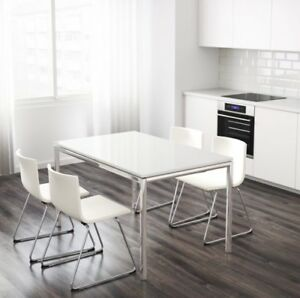 White Ikea dining table with silver chrome legs