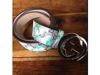 Gucci Blue Bloom Belt