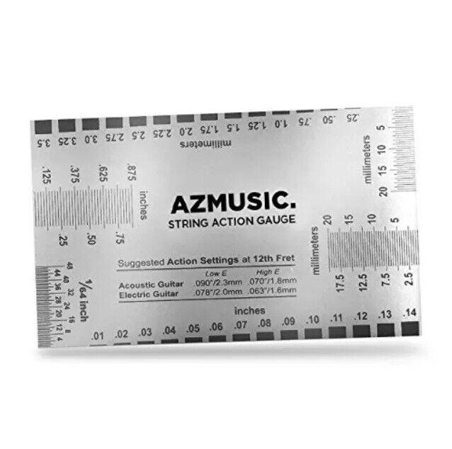 AZMUSIC Premium String Action Gauge, Compact & Versatile Luthier Tool, NEW