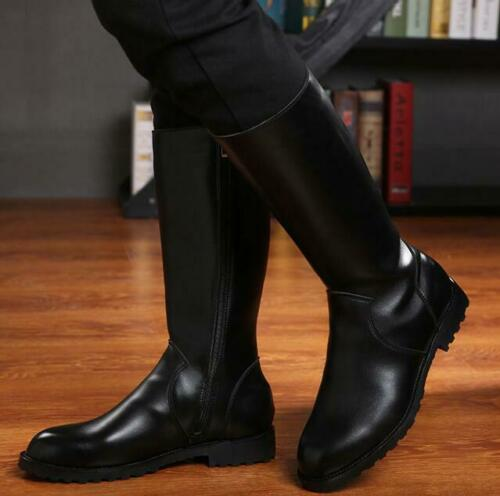 Knight Riding Boots Mens Military Shoes PU Leather Knee High Equestrian Boots SZ